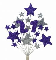Number age 21st birthday cake topper decoration in purple and silver - free postage